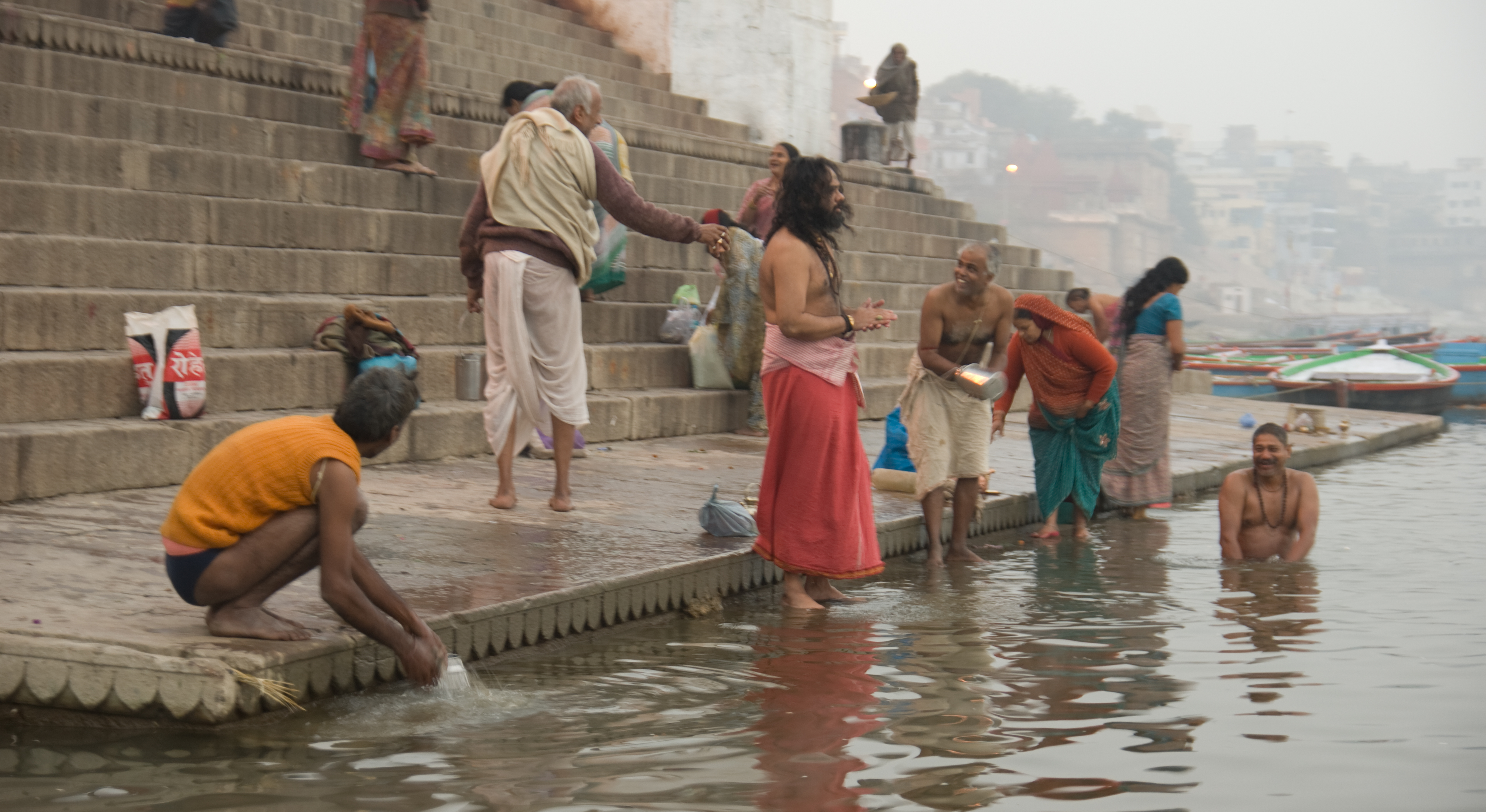 Indian Women Bathing At Ganga River